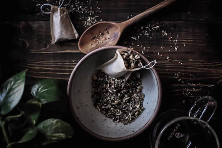 Anti-Anxiety Herbal Tea | Calming herbs like lemon balm, lavender, and chamomile are combined with herbs that nourish to make this herbal tea blend that can help you de-stress, sleep better, and better deal with emotional turmoil.
