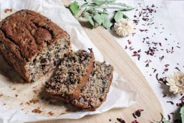 recipe for gluten-free vegan banana bread with hibiscus