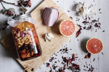how to make habanero hibiscus fire cider with orange peels, onion, garlic, ginger