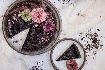 vegan, gluten-free, and no-bake Cherry Hibiscus Chocolate Tart with Dark Chocolate Ganache
